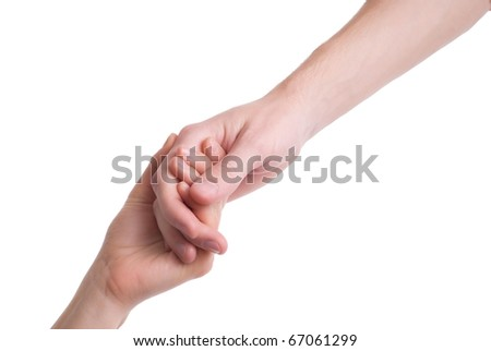 Man and woman hands together
