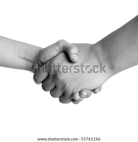 Man and woman handshake black and white isolated on white background - stock photo