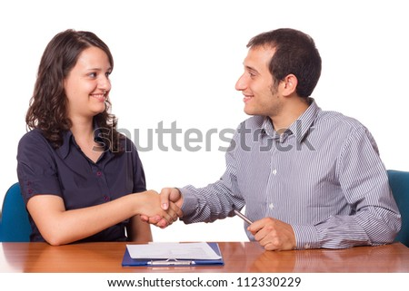 Man and Woman Handshake, Business Theme