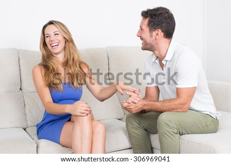 Man and woman having a good time together - stock photo