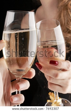 man and woman having a toast for New Year - stock photo
