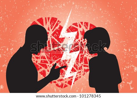 Man and woman having break up. Image showing broken heart on a grunge background. - stock photo