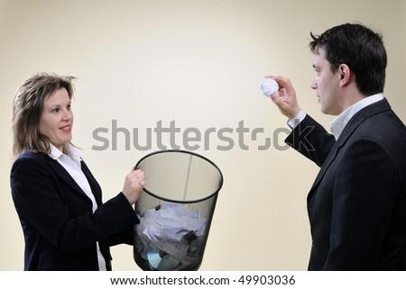 man and woman having fun in office - stock photo