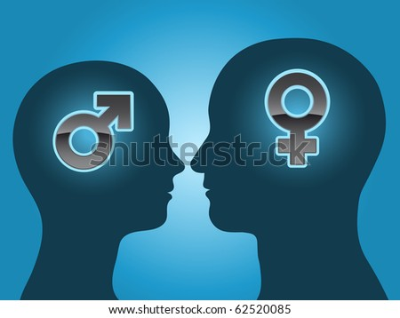Man and woman head silhouette with gender symbols - stock photo
