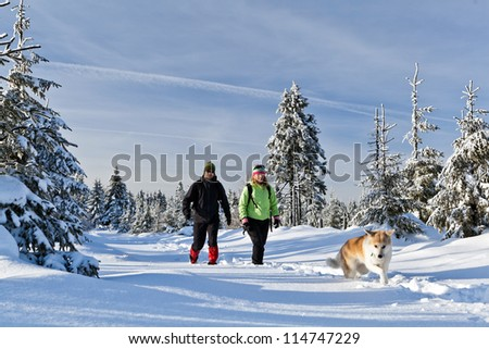 Man and woman hikers with akita dog on trekking in winter mountains. Happy young couple walking on snow, Poland - stock photo