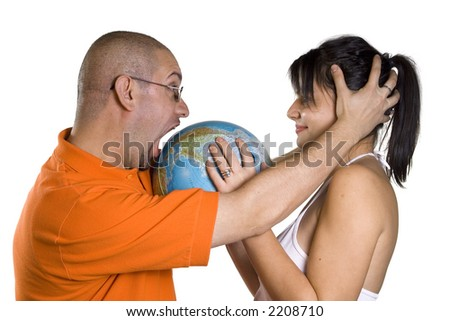 Man and woman holding globe of world on white backgrounds