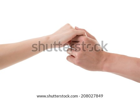 Man and woman holding hands, closeup image.