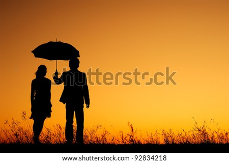 Man And Woman Under Umbrella Silhouette Man And Woman Holding Umbrella
