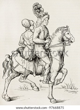 Man and woman horseback. By unknown author (from Nuremberg school, 16th century, Gigoux collection), published on Magasin Pittoresque, Paris, 1882 - stock photo