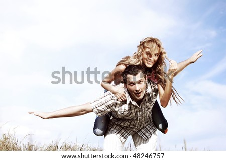 man and woman hug