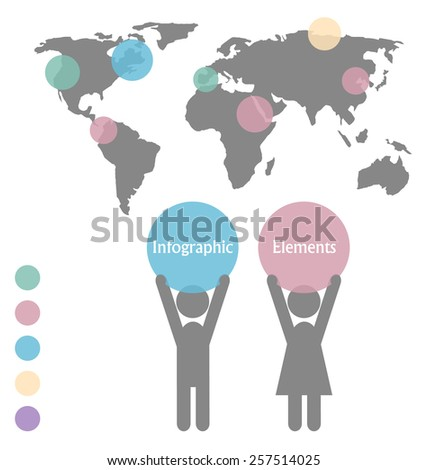 Man and woman icons with space for text and infographic map isolated on white background - stock photo