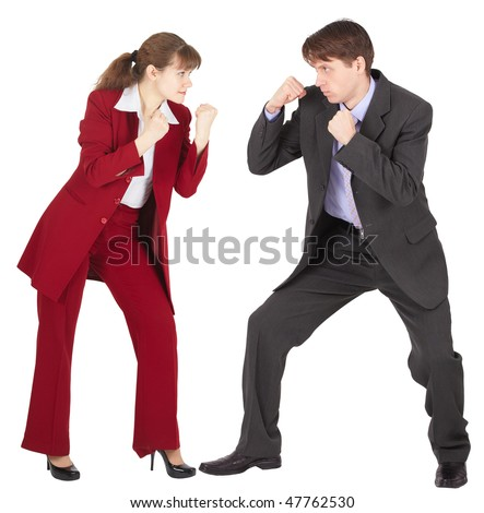 Man and woman in business suits are going to fight on white background - stock photo