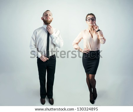 man and woman in formal clothes - stock photo