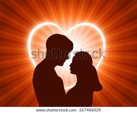 Man and woman in love looking each other at glowing heart background - stock photo