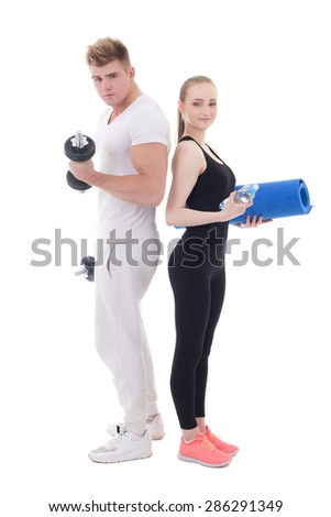 man and woman in sportswear with dumbbells and yoga mat isolated on white background - stock photo