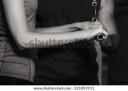 Man and woman in the gym - stock photo