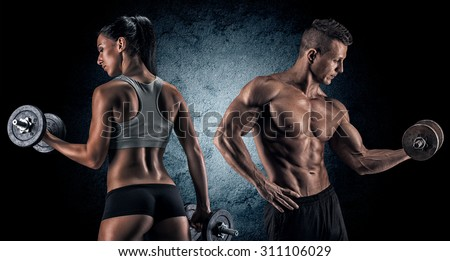 Man and woman isolated on a dark background