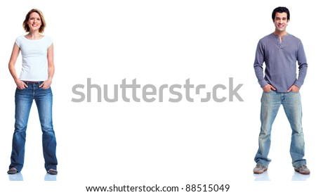 Man and woman. isolated on white background. - stock photo