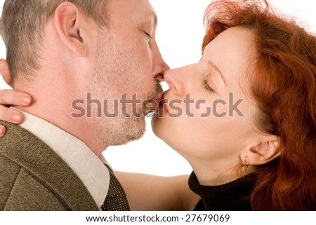 man and woman, kiss, isolated on a white background
