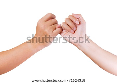 man and woman linking finger isolated on white background