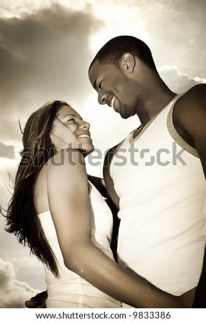 Man and woman looking at each other - stock photo