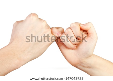 Man and woman making a pinkie promise. Hands isolated on white background. - stock photo