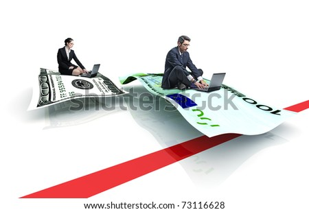 man and woman on flying money - stock photo