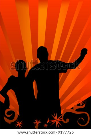 man and woman on orange color background