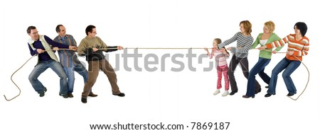Man and woman playing tug of war - isolated - stock photo