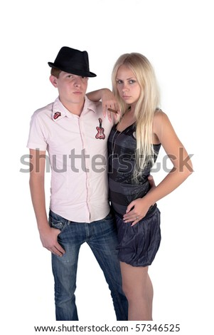 Man and woman posing on a white background - stock photo
