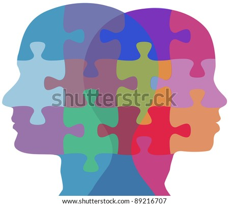 Man and Woman profiles face opposite ways in couple problem jigsaw puzzle - stock photo
