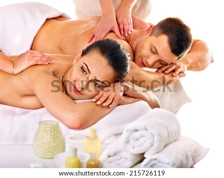 Man and woman relaxing in spa. - stock photo