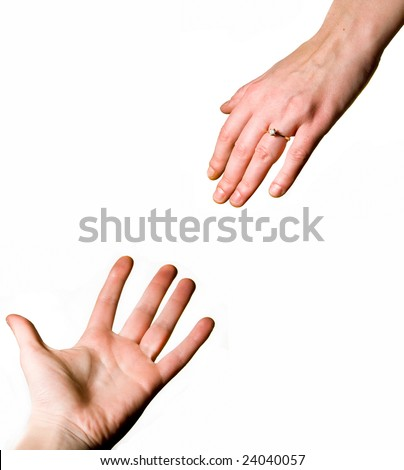 Man and woman's hands reaching for each other