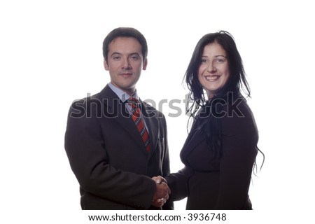 man and woman  shaking hands - isolated over a white background - stock photo