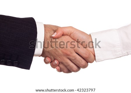 Man and woman shaking their hands in a greeting act - stock photo