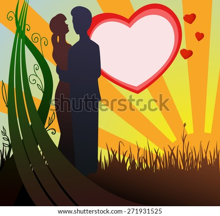 Man and woman silhouette in love on heart and sunset background - stock photo
