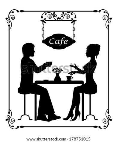 Man and woman sitting in a cafe. Two silhouettes in vintage frame - stock photo