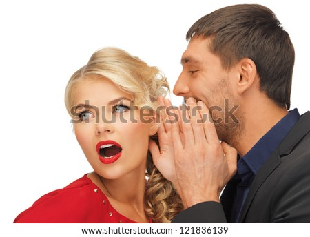 man and woman spreading gossip (focus on woman)