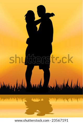 man and woman standing on the river illustration