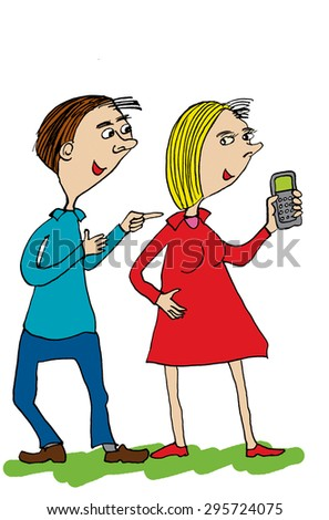 Man and woman talking. Man is asking women phone number.Cartoon - stock photo