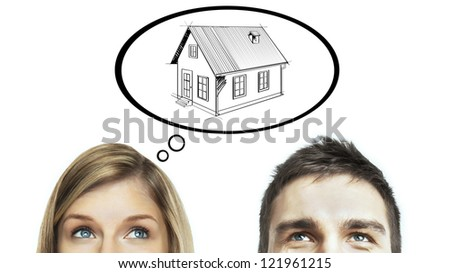 man and woman think about home - stock photo