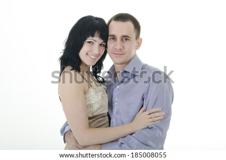 man and woman together laughing.  - stock photo