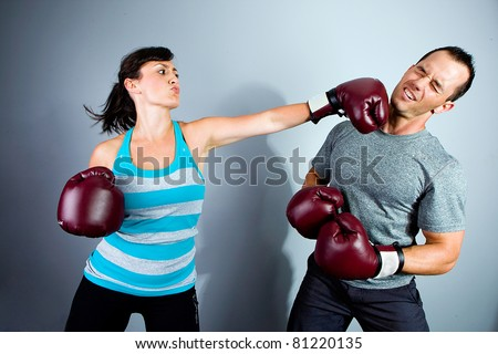 Man and Woman training for Boxing Match - stock photo