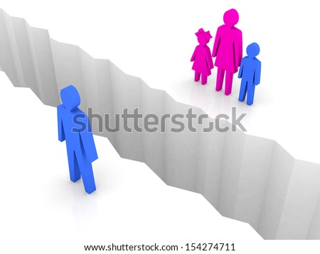 Man and woman with children split on sides, separation crack. Concept 3D illustration. - stock photo