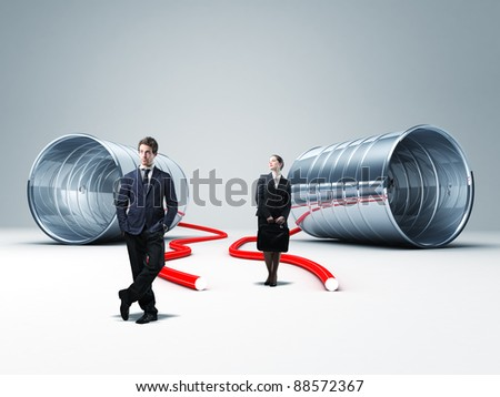 man and woman with 3d can phone - stock photo
