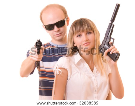 Man and woman with guns isolated on white
