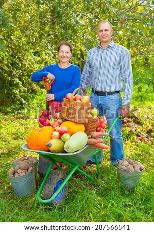 Man and woman  with  harvested vegetables in garden - stock photo