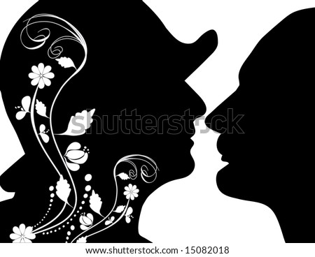 man and woman  with hat illustration