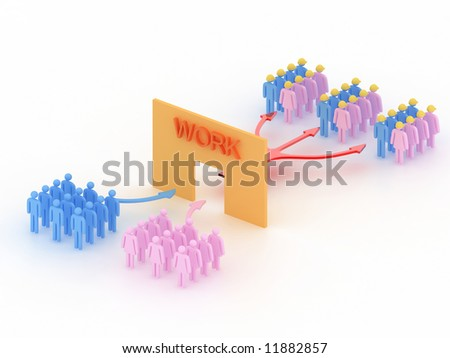 man and woman work together - stock photo