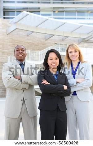 Man and Woman young and  diverse business team  at office building